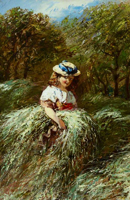 A Girl Carrying a Bundle of Hay