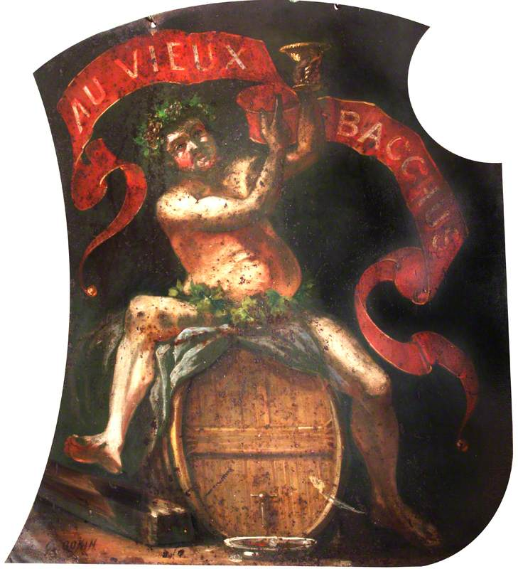Inn Sign, with Bacchus on a Barrel