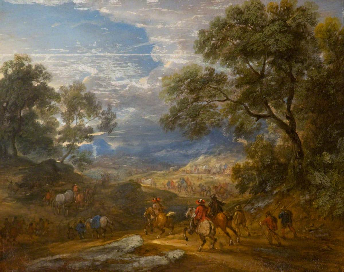 Wooded Landscape with Horsemen and a Baggage Train on a Road