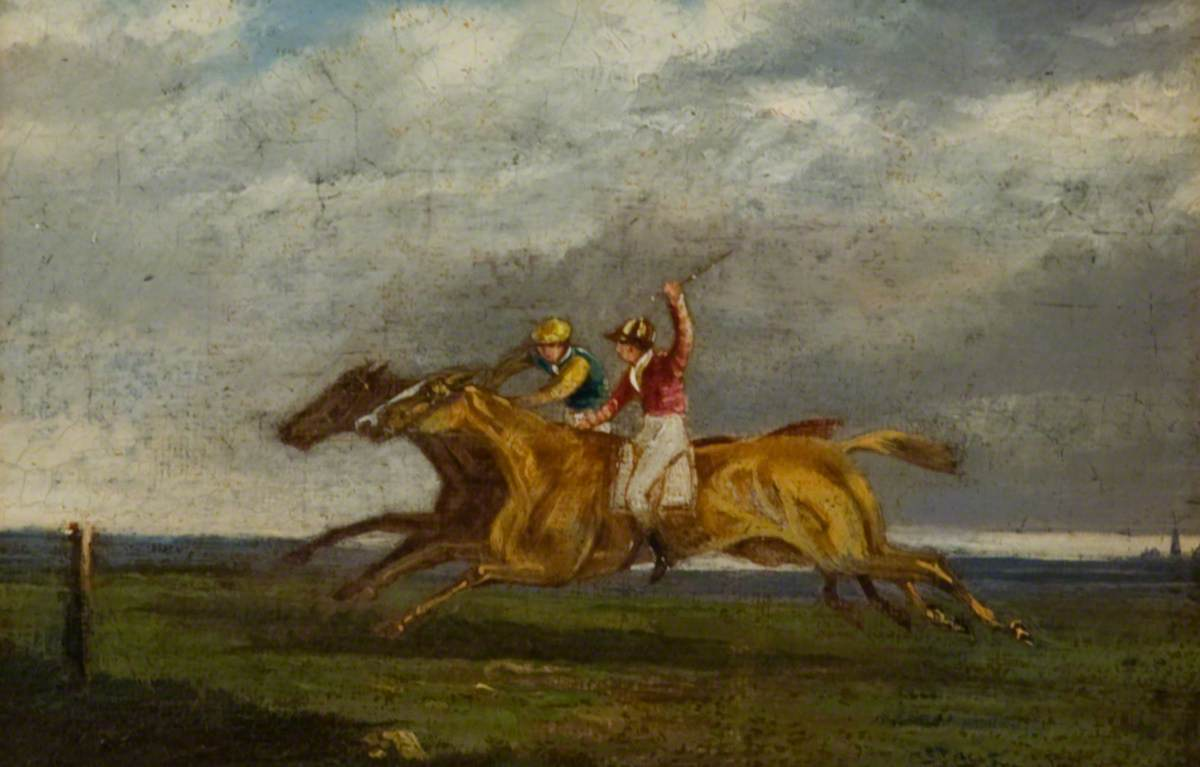 Two Racehorses Neck and Neck