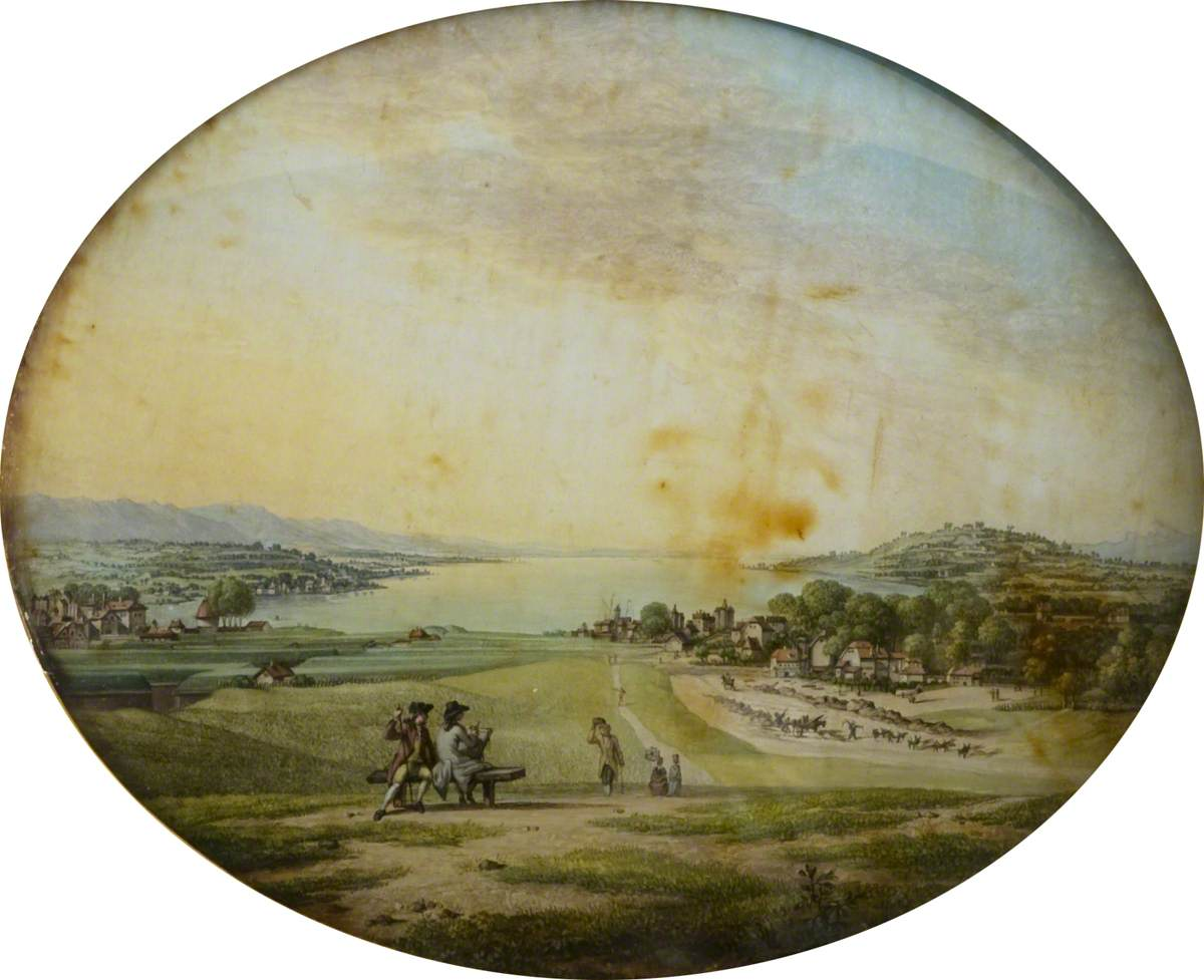 View of Geneva, with an Artist Sketching