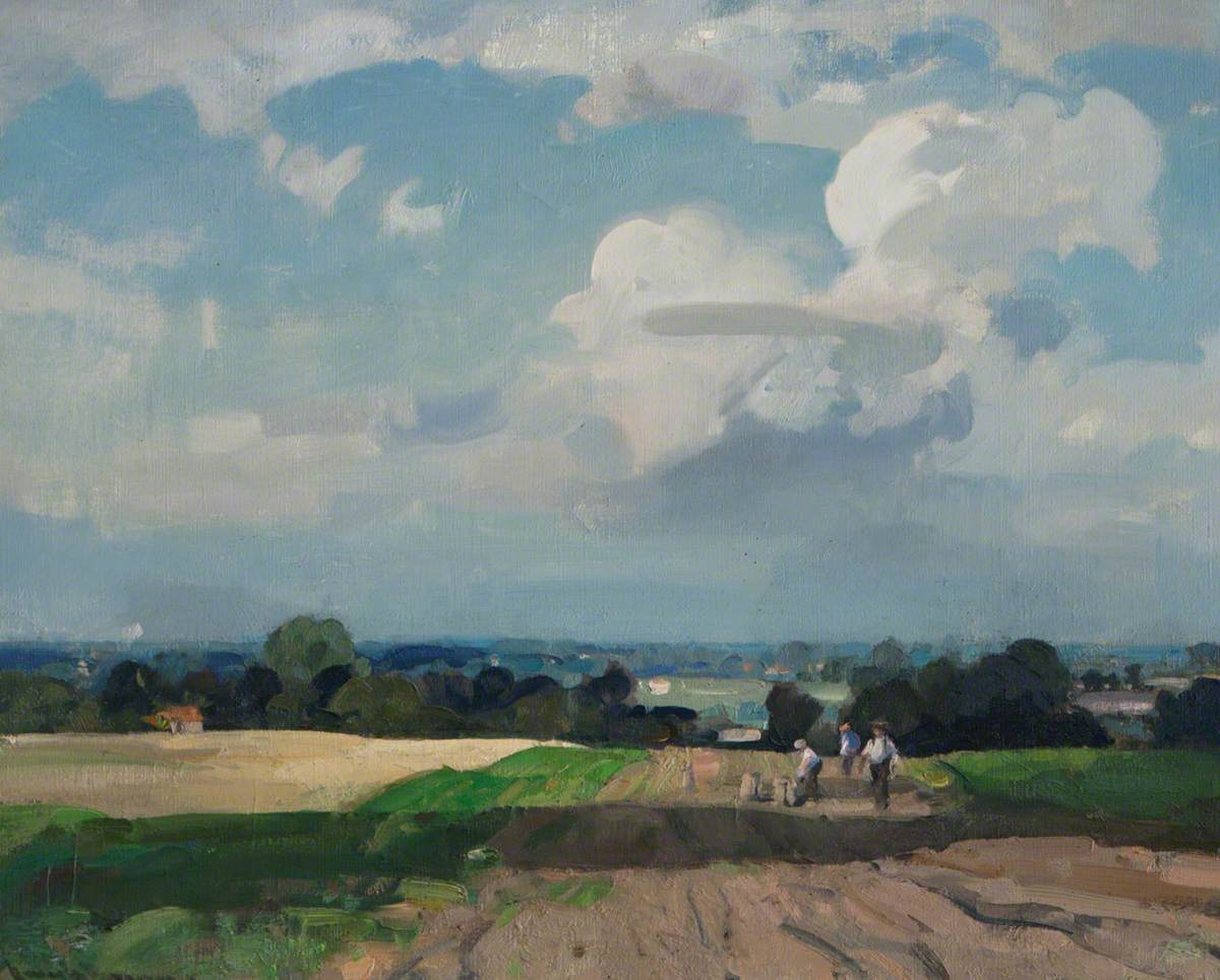 A Norfolk Landscape with Potato Pickers