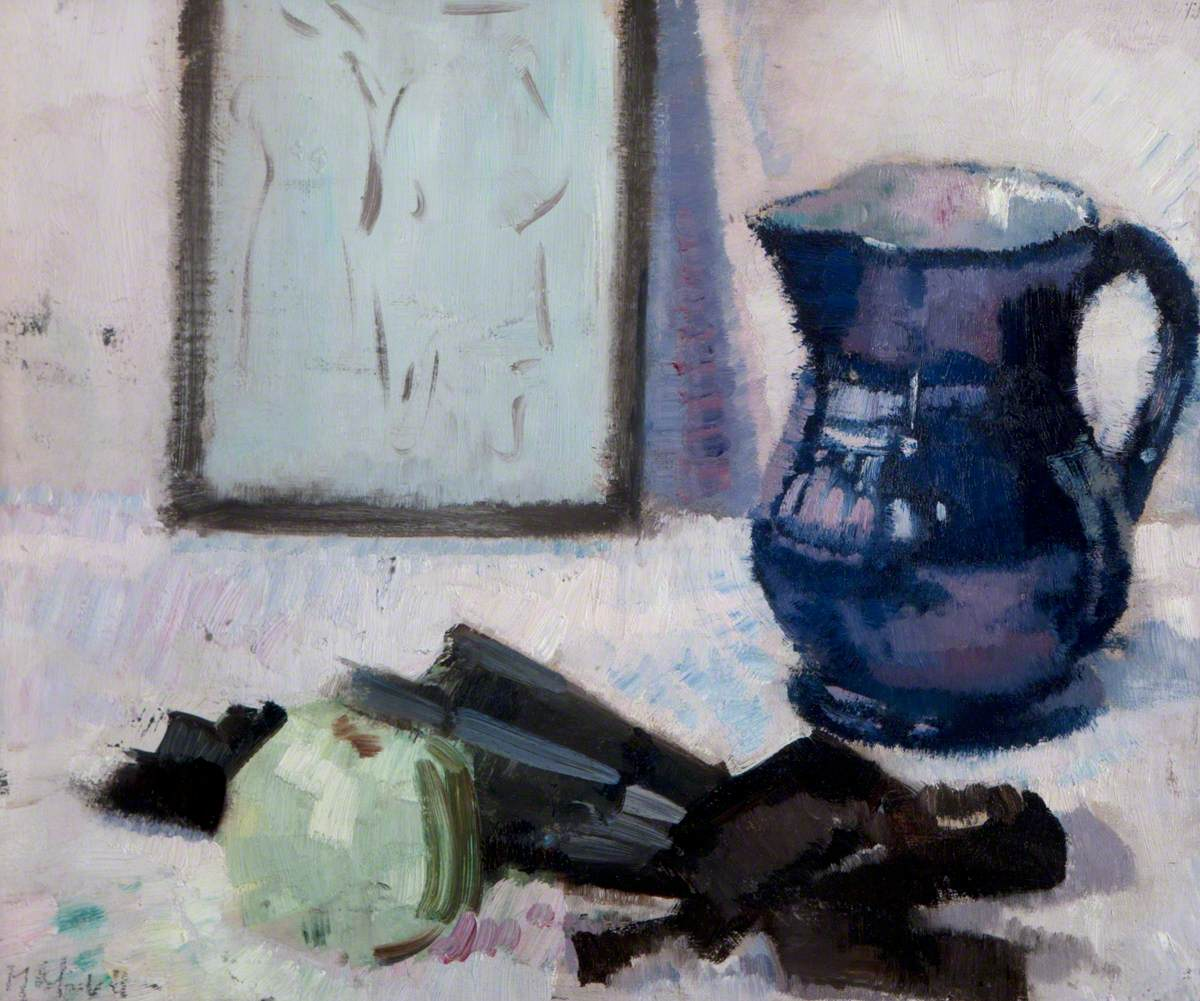 Still Life with Blue Jug, Fan and an Apple