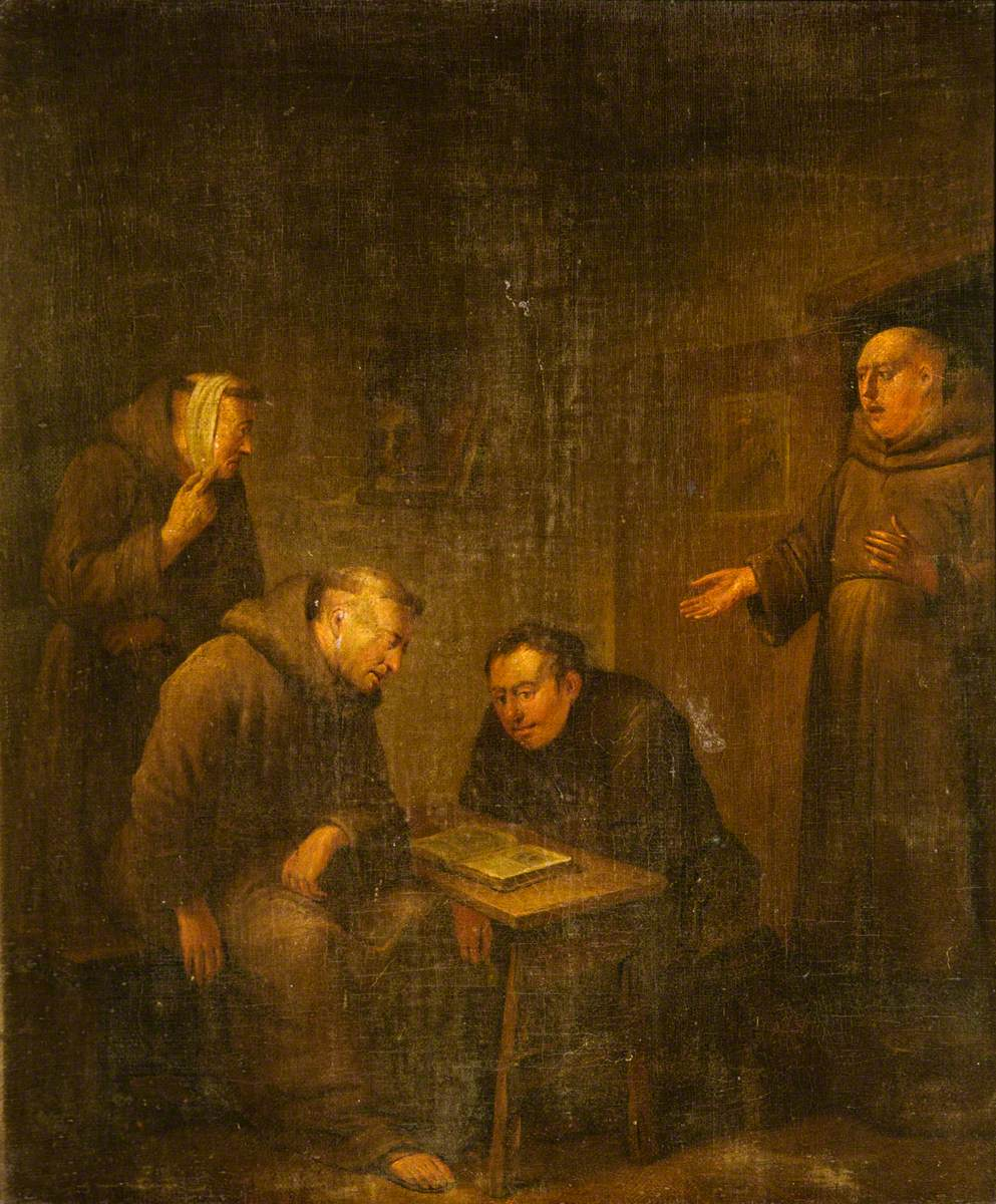 Four Monks in an Interior