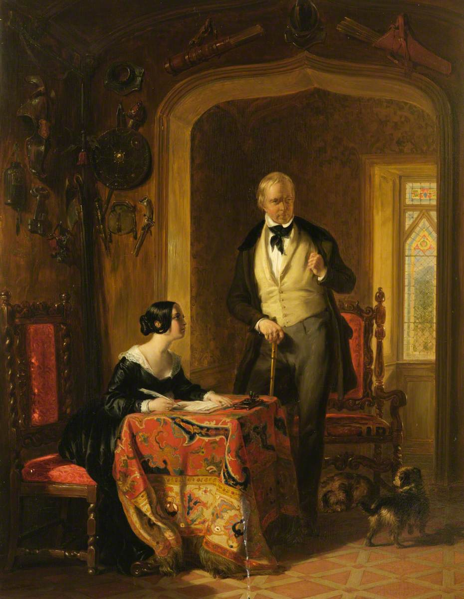 Sir Walter Scott Dictating to His Daughter, Anne, in the Armoury at Abbotsford