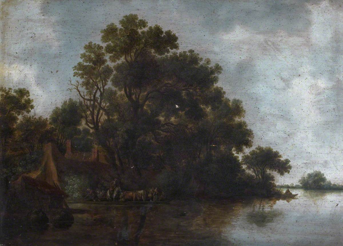 Wooded River Landscape with Cottages, a Ferry Boat, Cattle and Figures