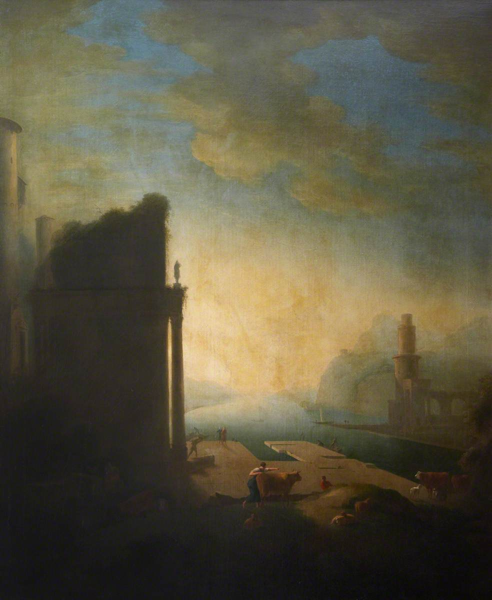 Capriccio Coastal Inlet with Classical Ruins, Figures, Cattle and Sheep