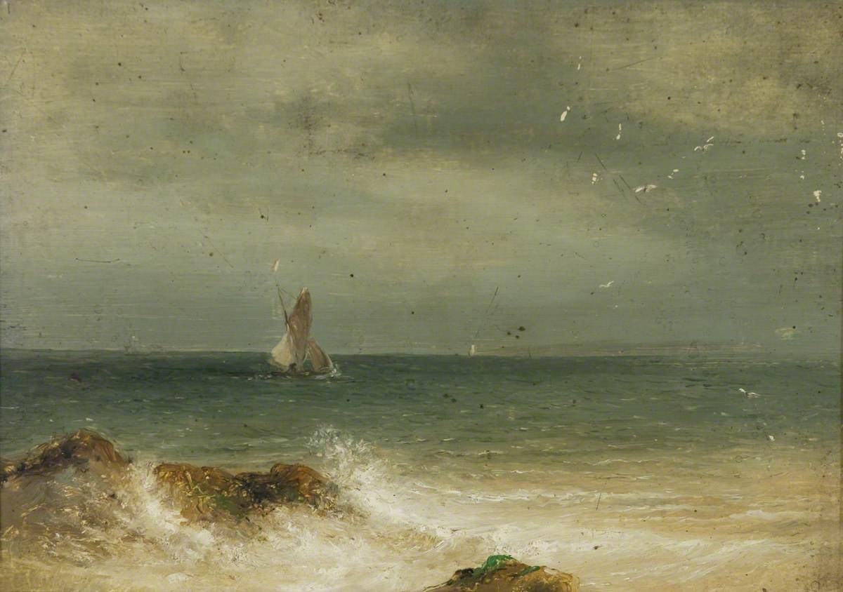 Sailing Boats off a Rocky Shore