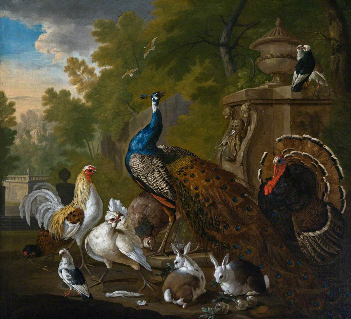 A Peacock, a Turkey and Domestic Fowl in a Garden