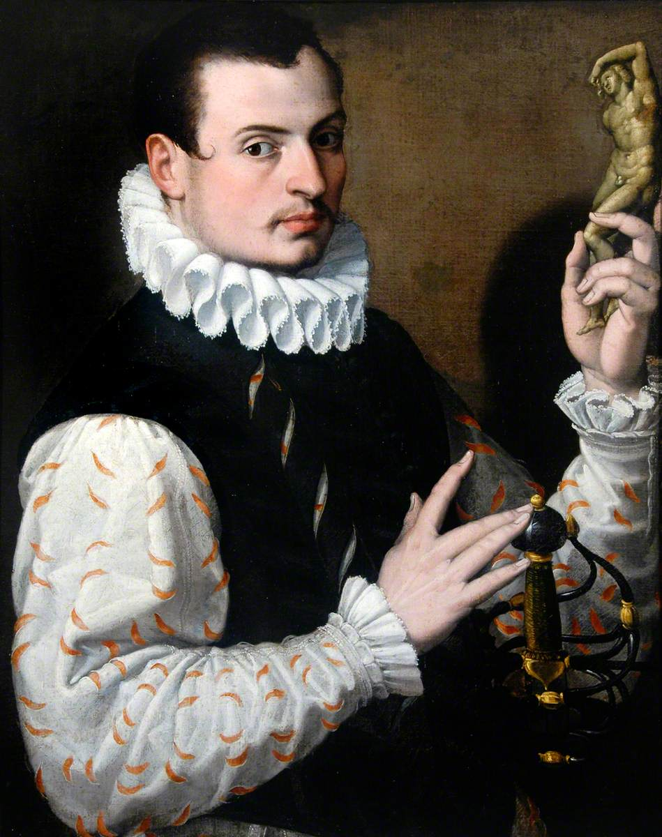 Portrait of a Young Man Holding a Statuette
