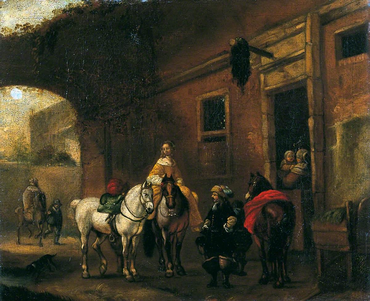 The Inn Yard, Figures and Horses before an Inn