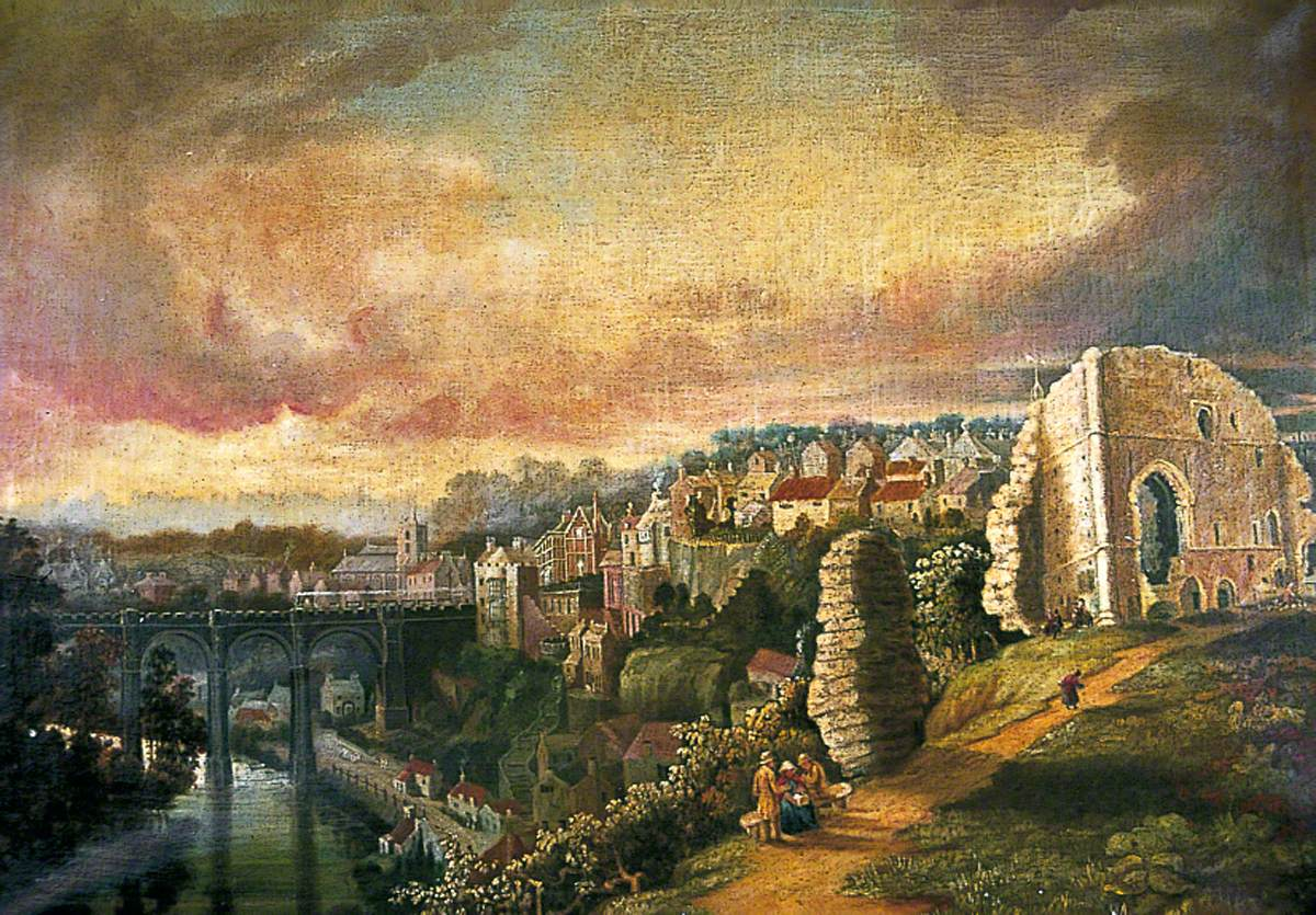 View from Knaresborough Castle Overlooking the Viaduct with Train