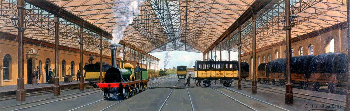 Travel in 1850 (Old Station at Derby, North Midland Railway)
