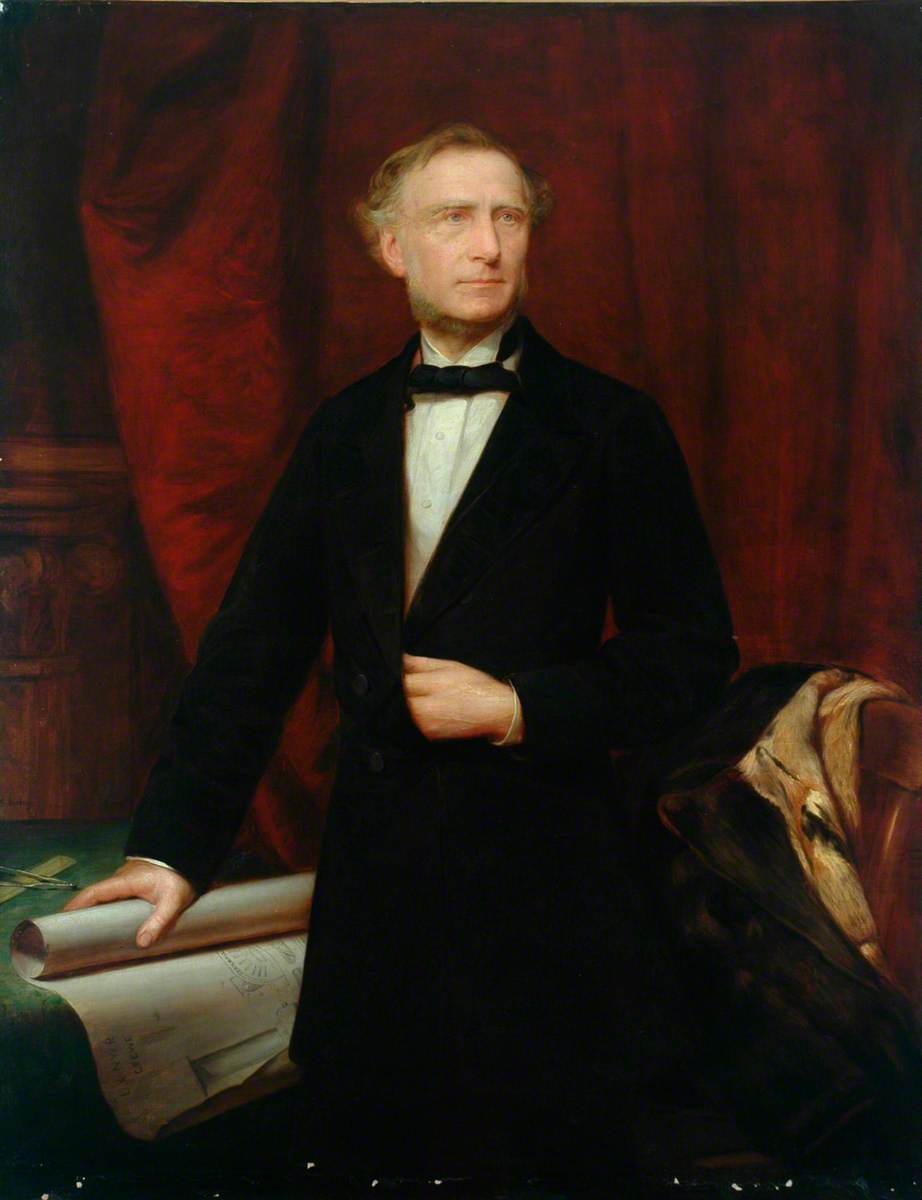 Francis Trevithick (1812–1877), London and North Western Railway, Holding a Drawing of the Locomotive 'Cornwall'