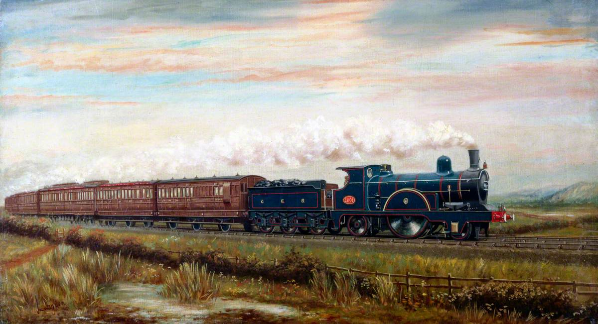 North Country Continental Passenger Train Hauled by Great Eastern Railway 2–2–2 Locomotive No. 1001