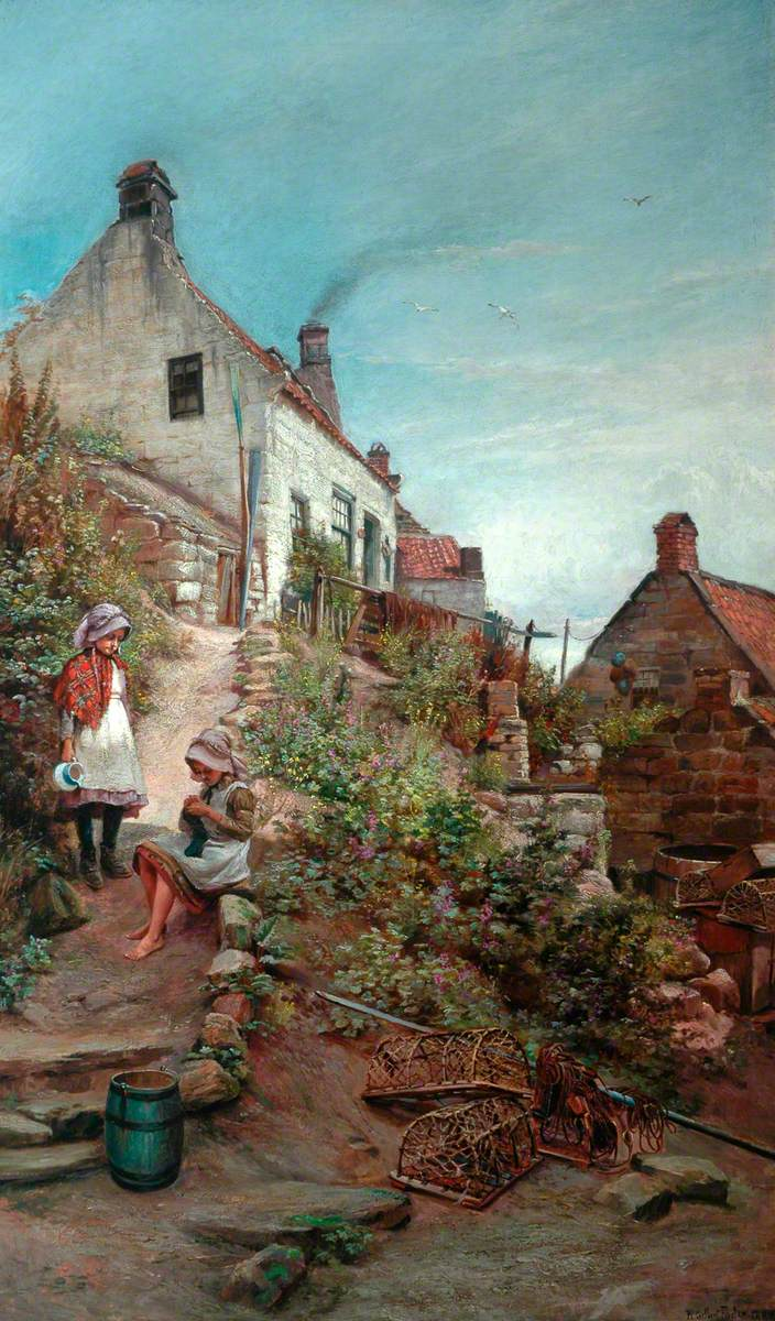 Two Girls at a Cottage
