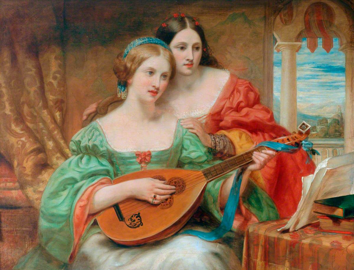 Two Women in Classical Pose, One Playing a Lute