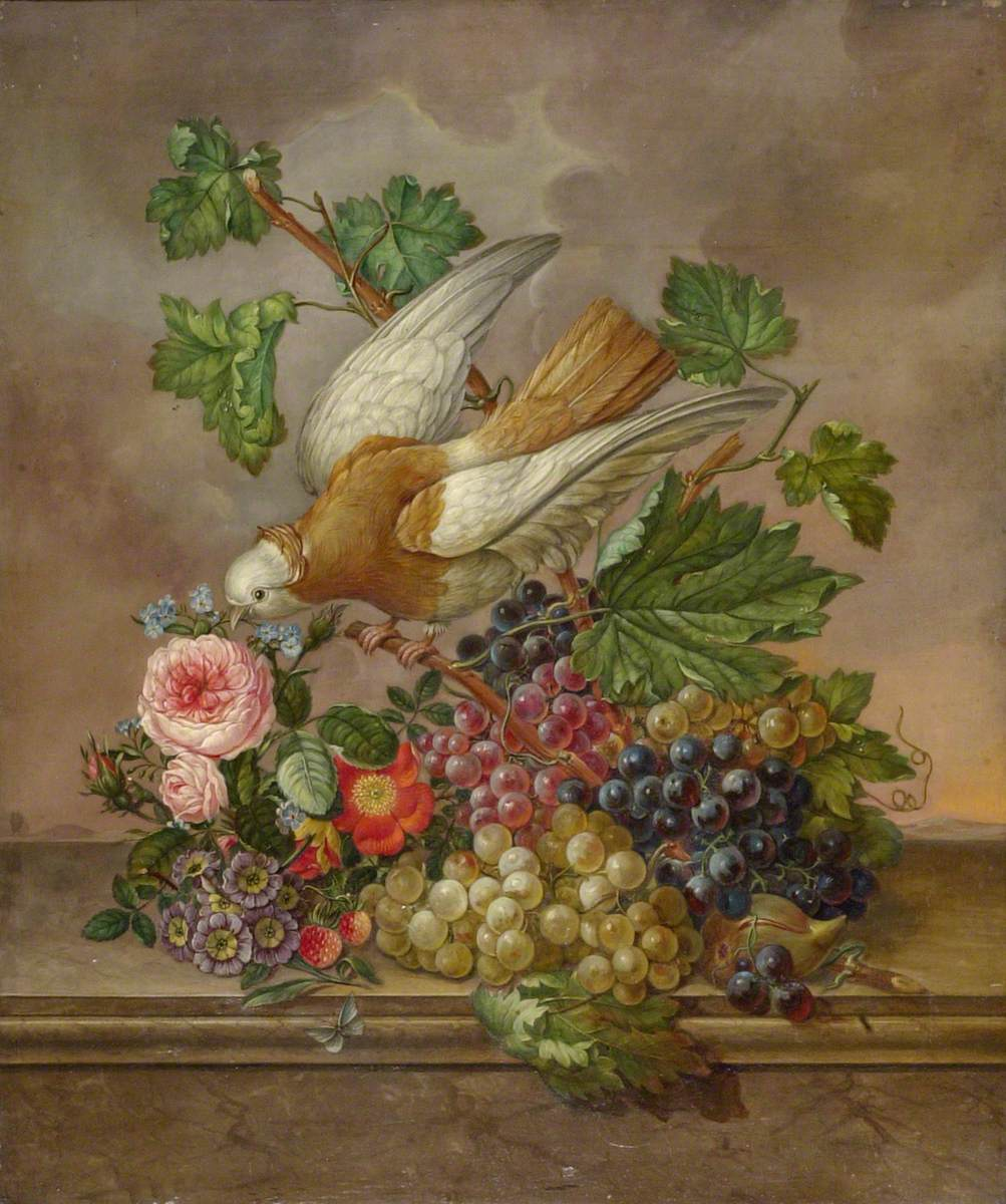 Flowers, Grapes and Dove on a Stone Ledge