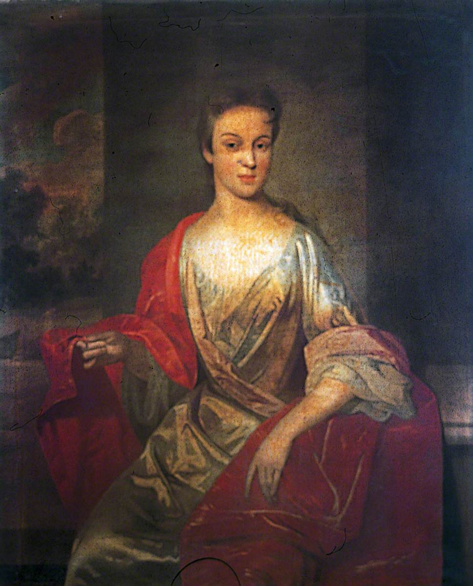 Unknown Seated Lady in a Satin Dress with a Red Drape