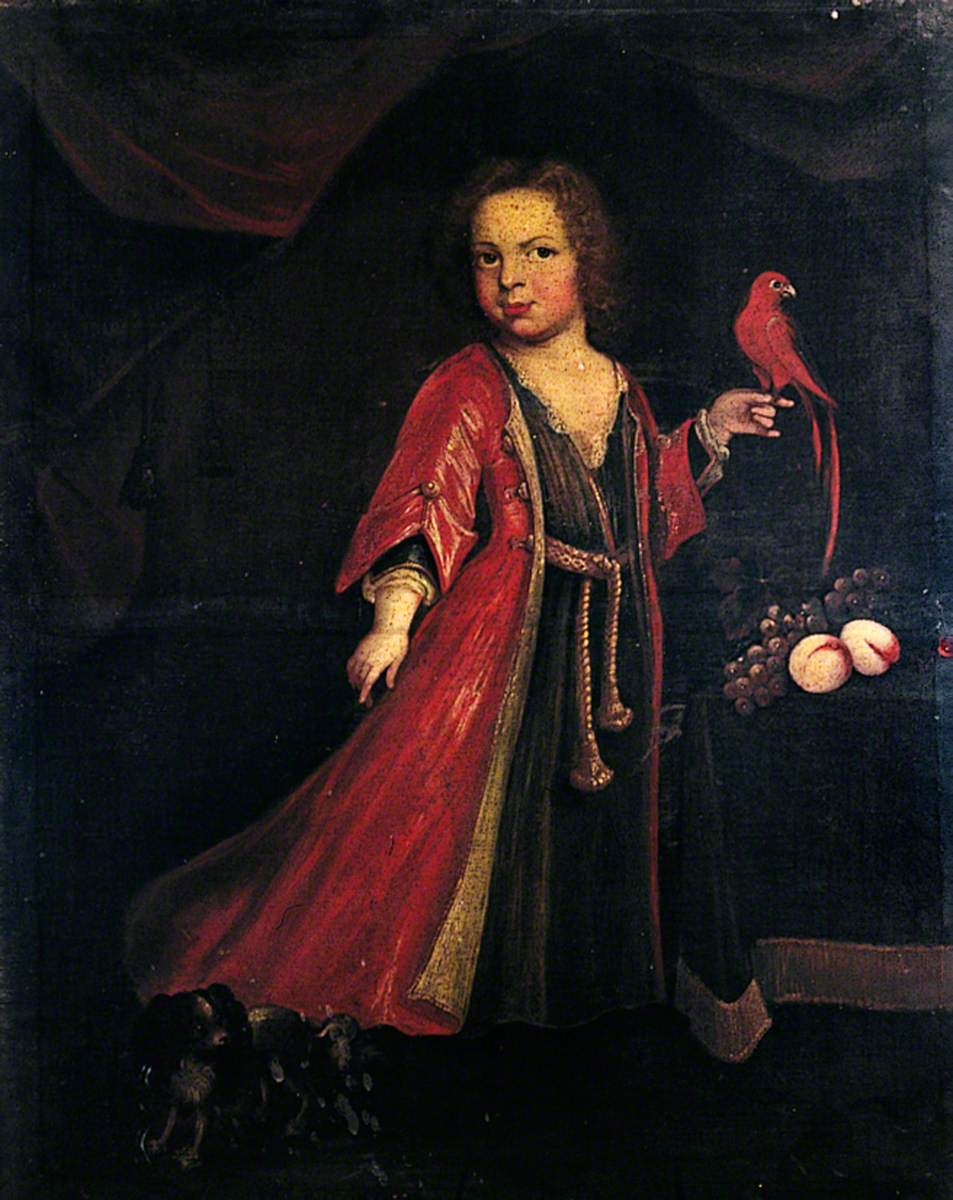 Portrait of an Unknown Girl Holding a Parrot