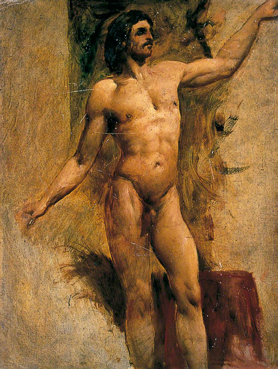 Bearded Male Nude with Left Arm Raised