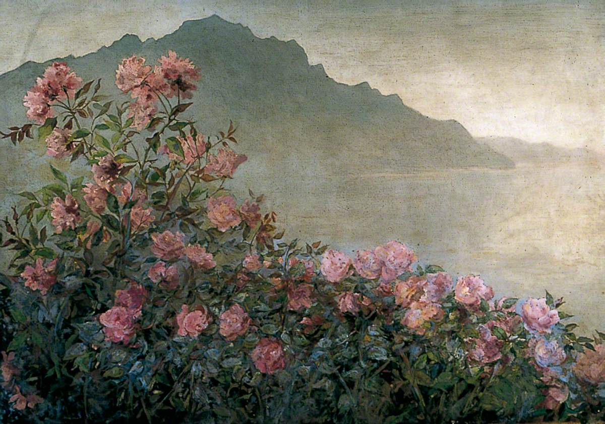 Rose Bush with a Mountainous Coast Scene Beyond