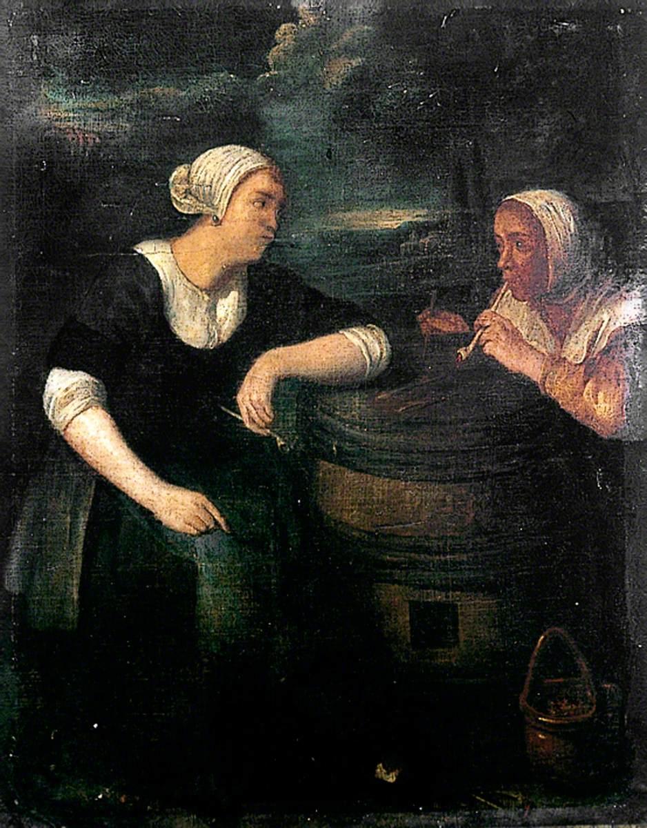 Two Dutch Peasant Women Smoking