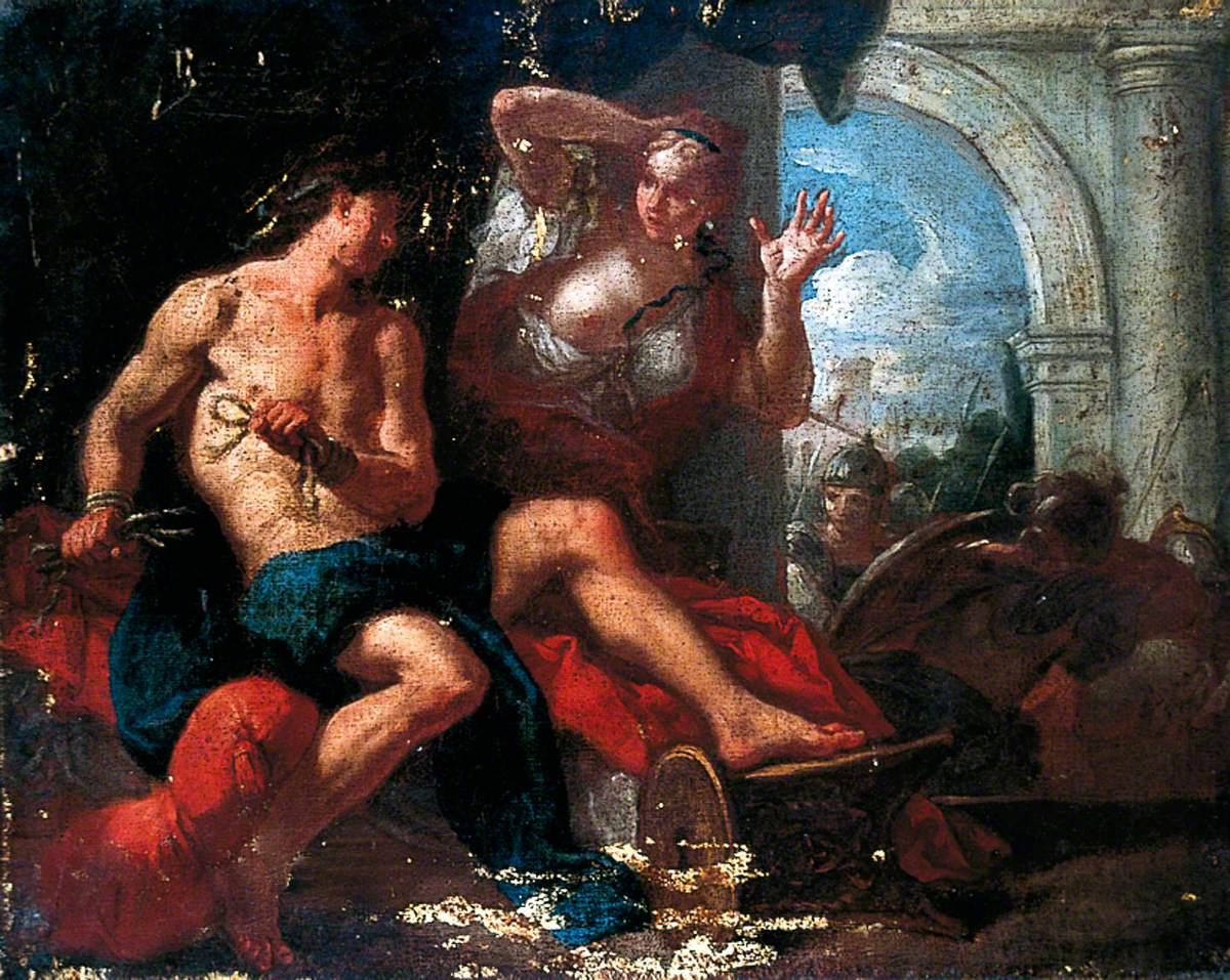 Samson Bursting His Bonds before Delilah