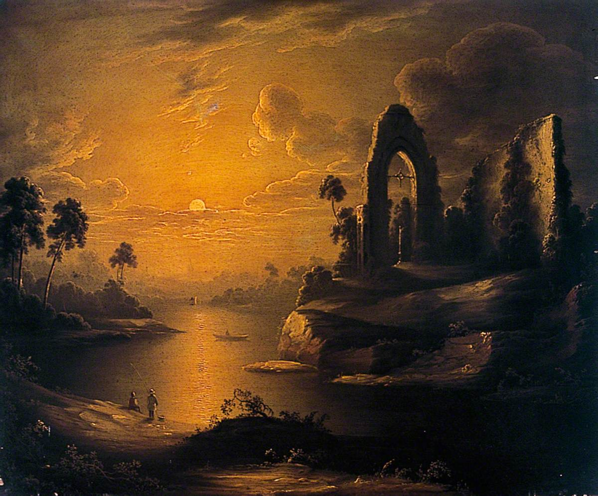 Moonlit Landscape with Lake and Ruined Abbey