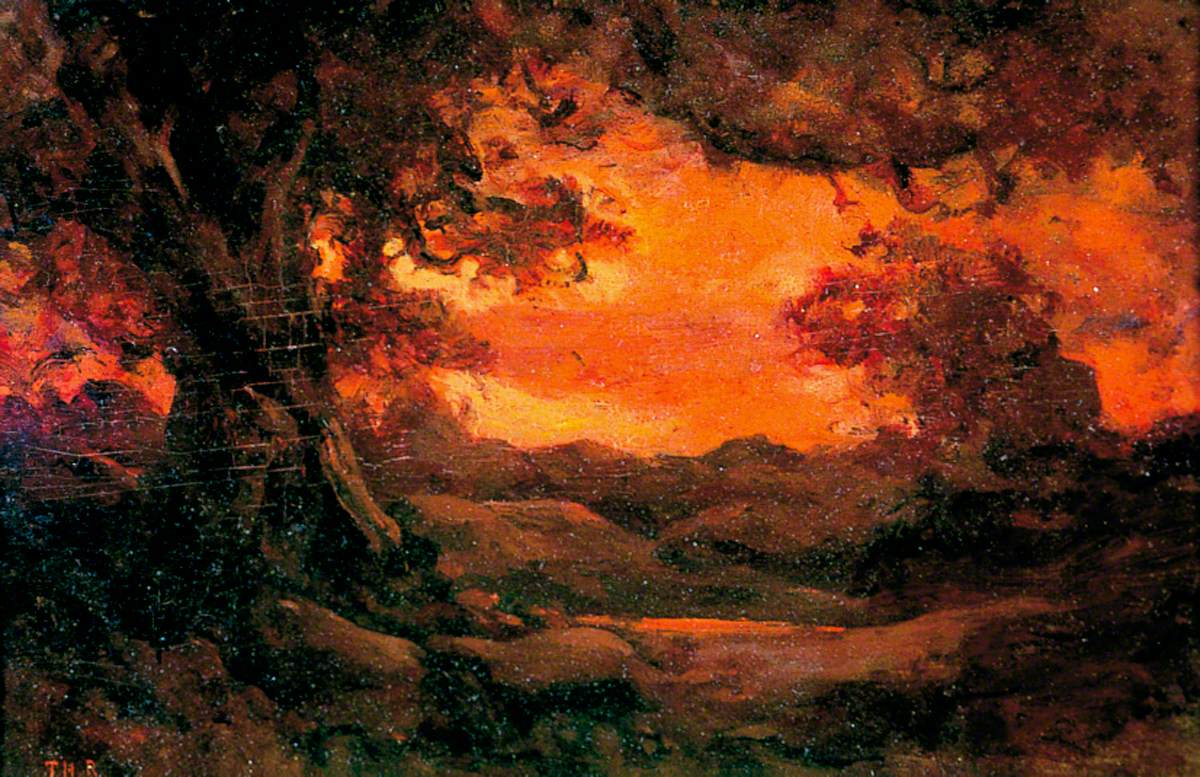 Landscape with Red Sunset