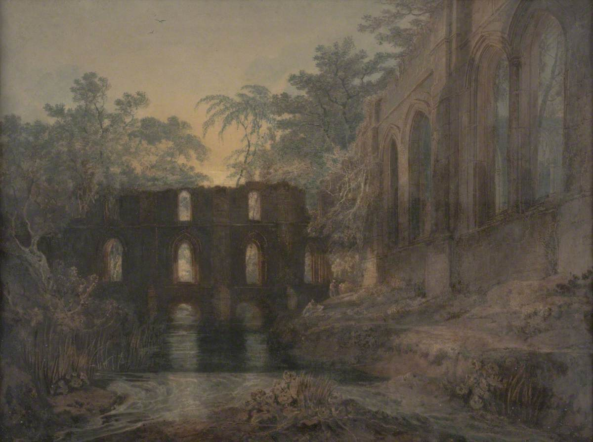 The Dormitory and Transept of Fountains Abbey – Evening