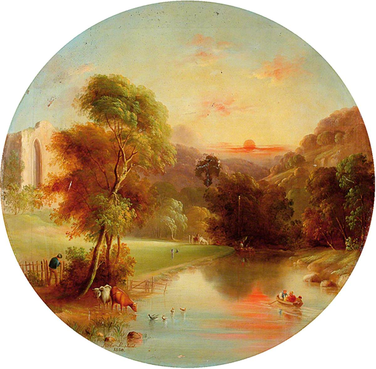 Ruined Abbey by a River at Sunset