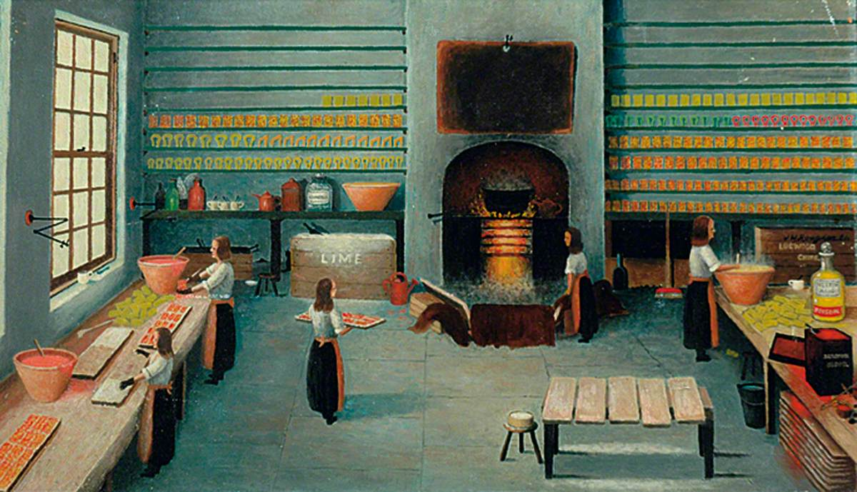 Interior with Women Working: A Horn Workshop