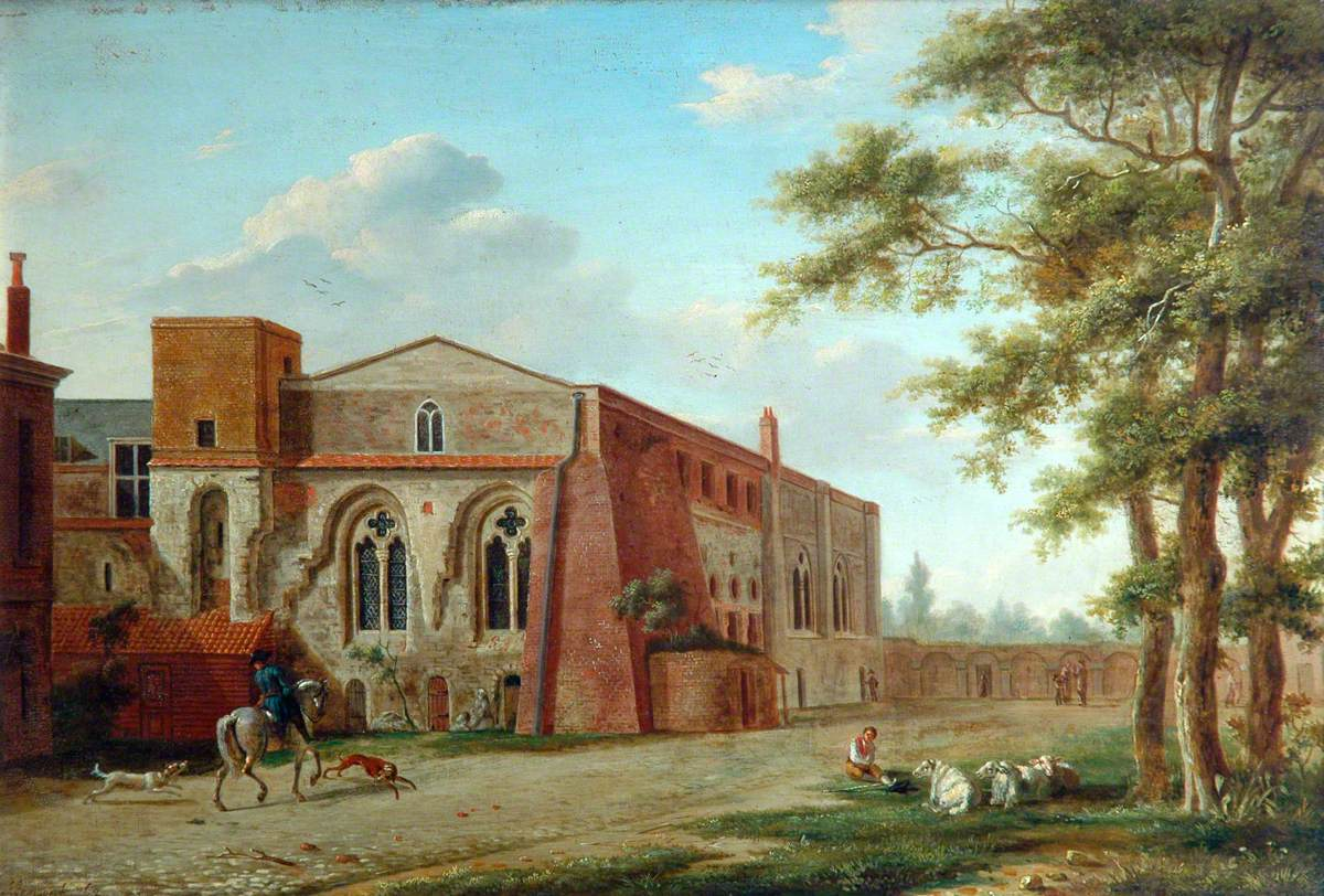 Figures outside a Church, Set in a Wooded Landscape