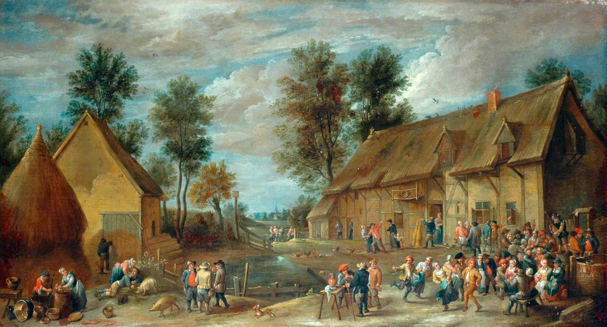 A Village Scene with Peasants Merrymaking outside an Inn