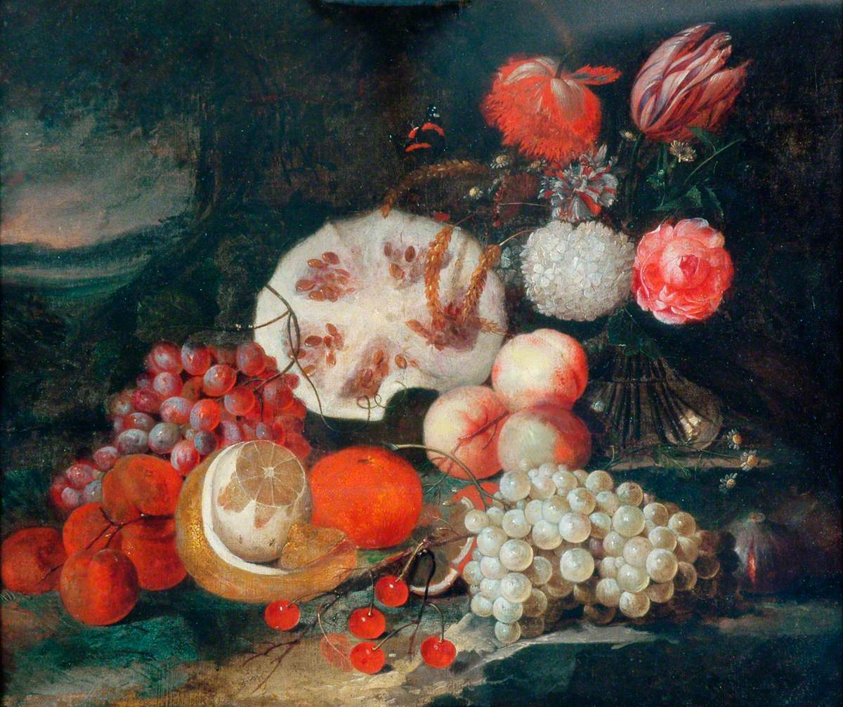 A Still Life of Fruit and Flowers Set in a Landscape