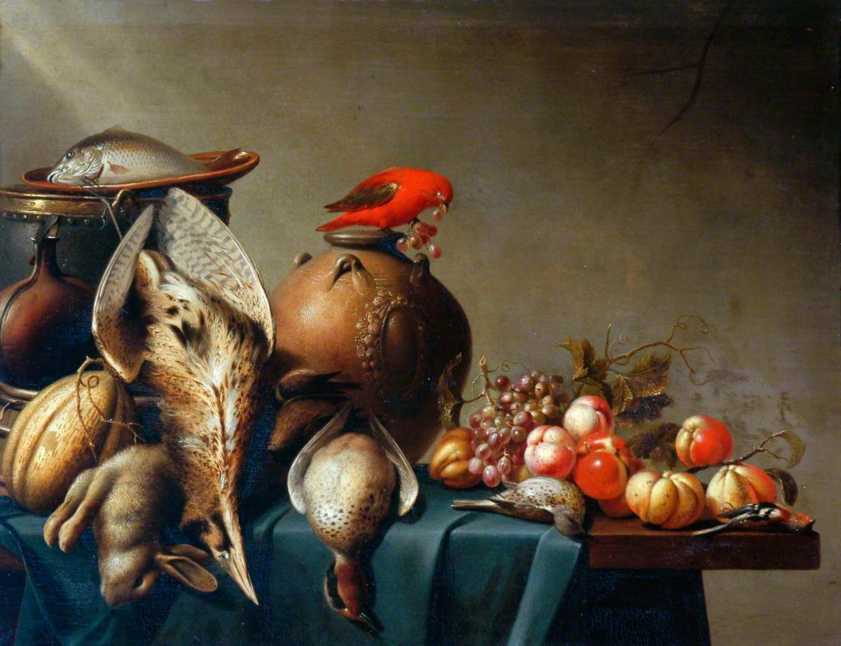 A Still Life of Dead Birds and Fruit