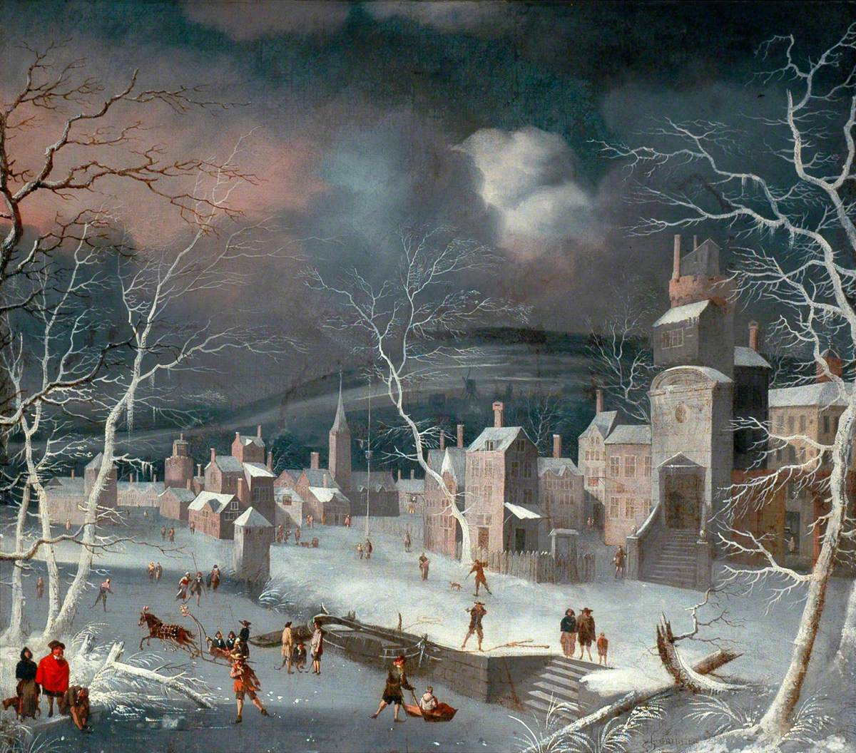 Dutch Snow Scene with Skaters