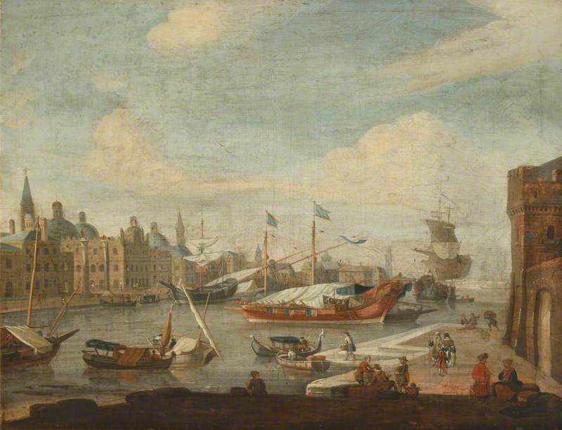 Capriccio View of Venice with Merchants and Barges