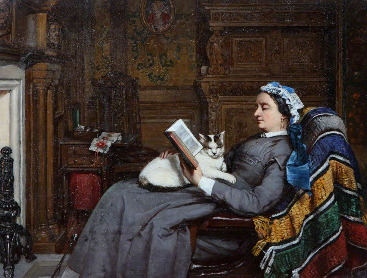 Elizabeth Allan-Fraser Seated, Reading with a Cat