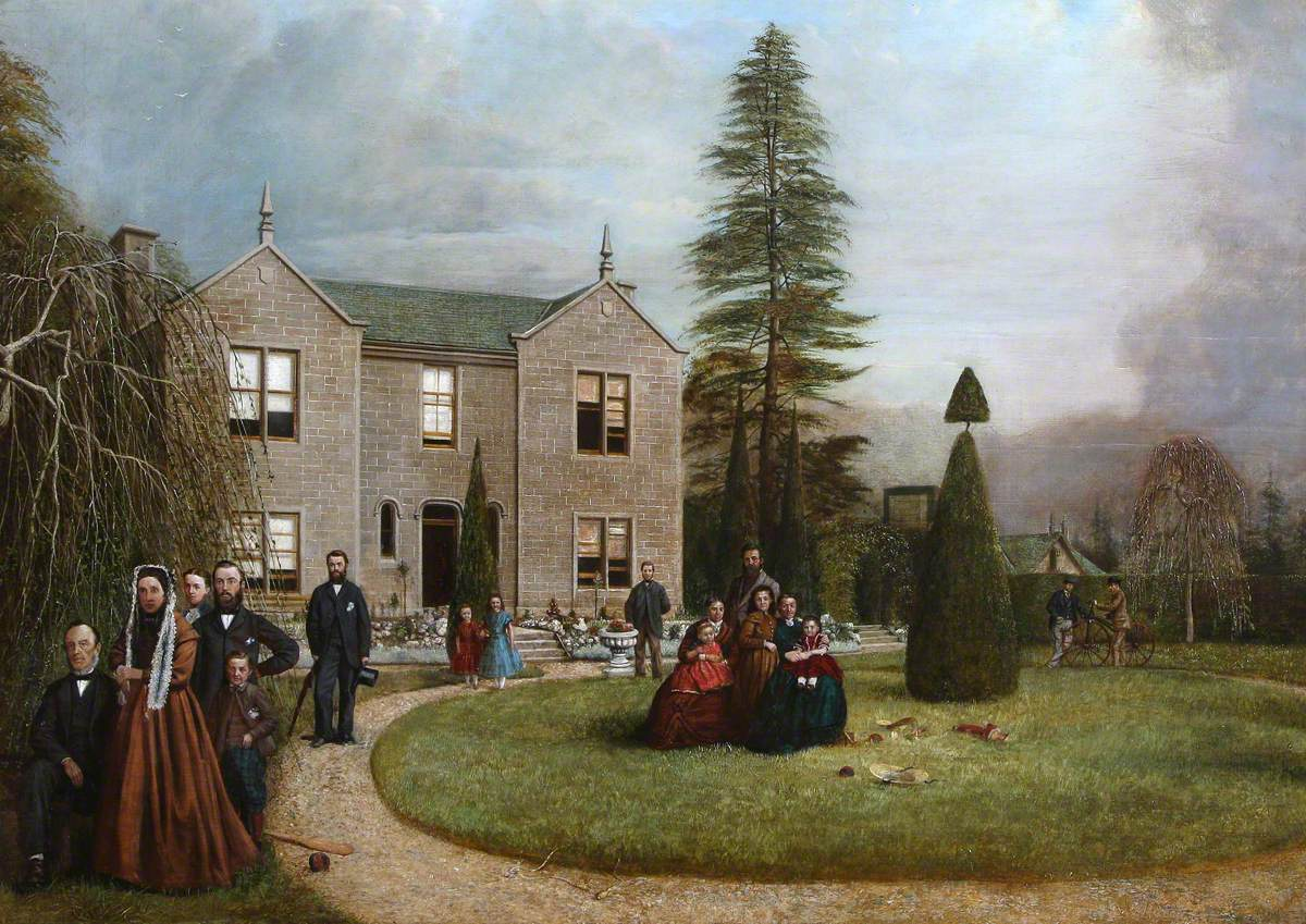 Thomas Lamb, His Wife and Family on the Lawn at Brewhead House, Birkhill