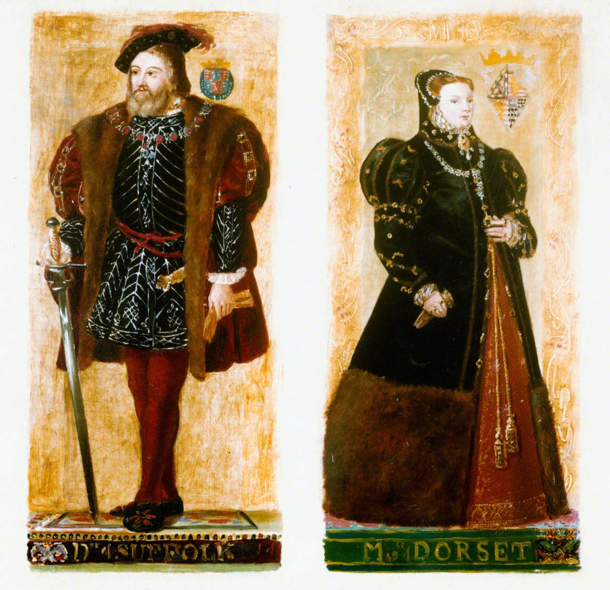 Preparatory Sketches of Duke of Suffolk and Marchioness of Dorset