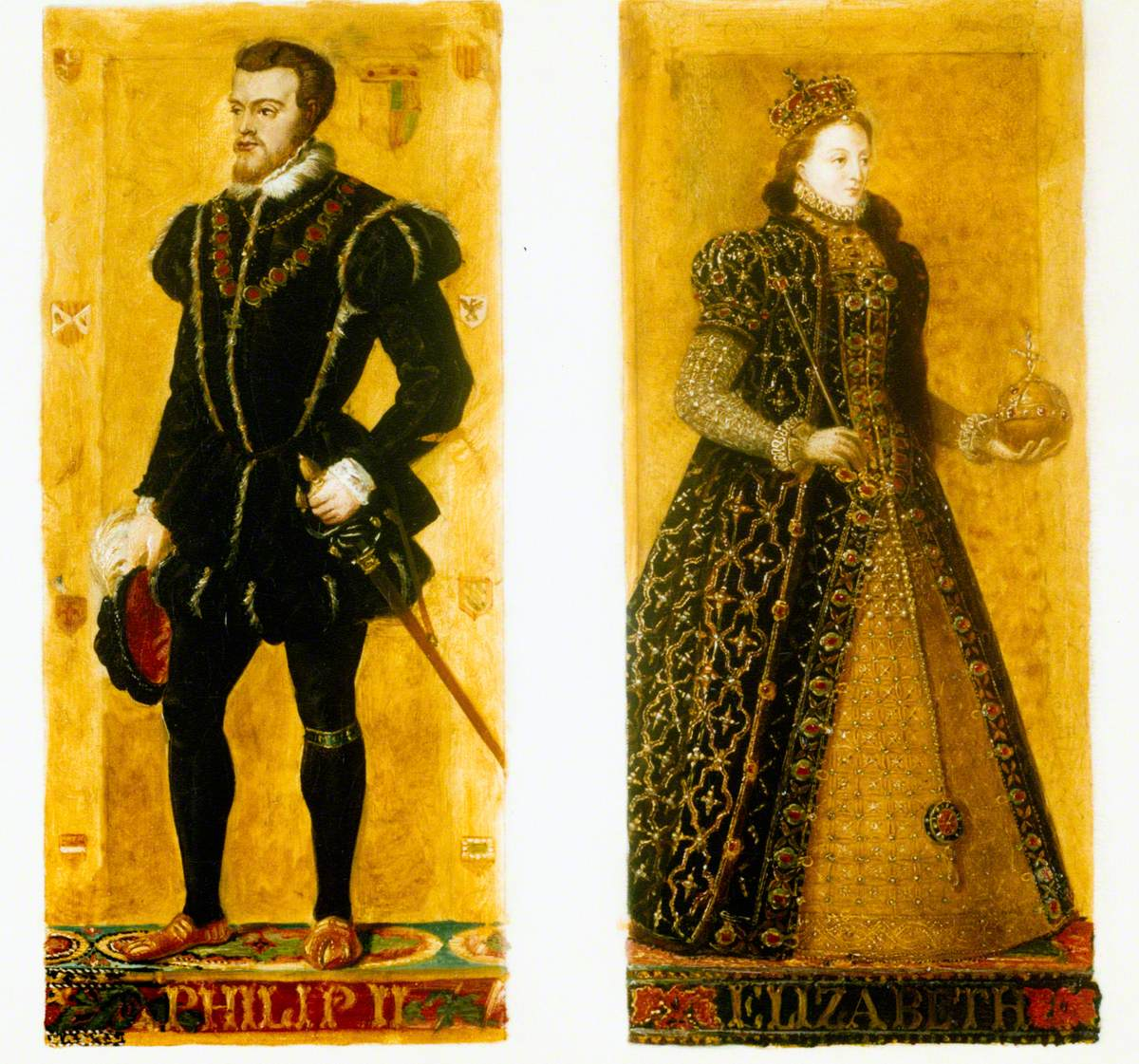 Preparatory Sketches of Phillip II of Spain and Elizabeth I