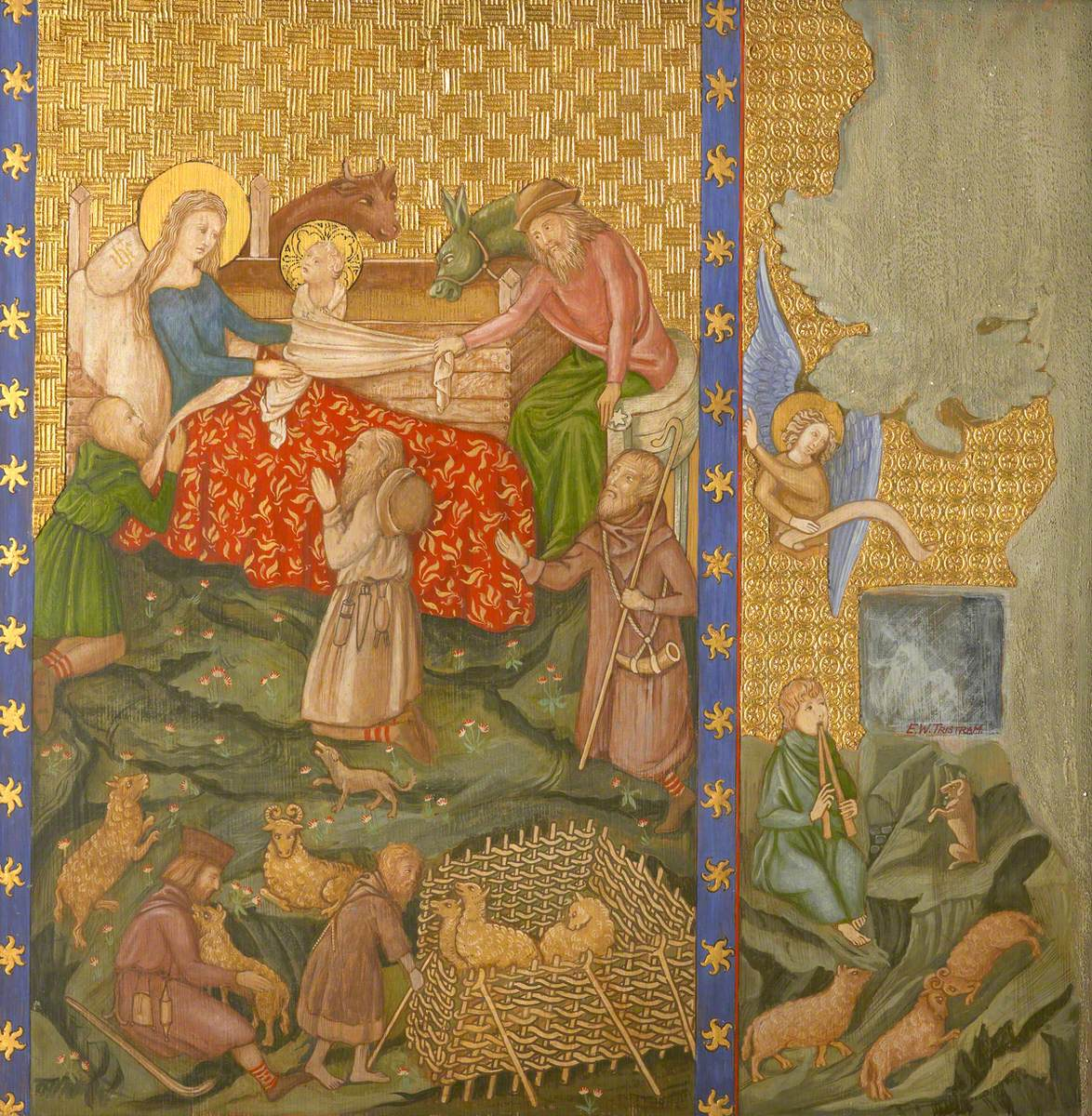 Reconstruction of Medieval Mural Painting, Adoration of the Shepherds