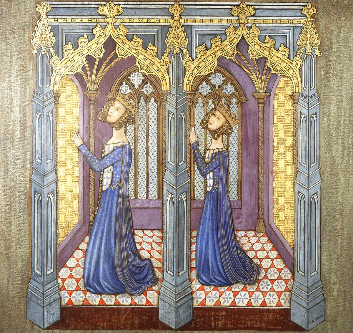 Reconstruction of Medieval Mural Painting, Queen Philippa's Daughters Kneeling in Prayer