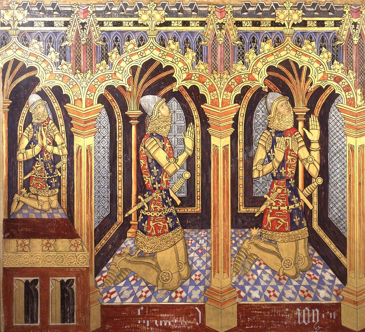Reconstruction of Medieval Mural Painting, Donors King Edward's Sons