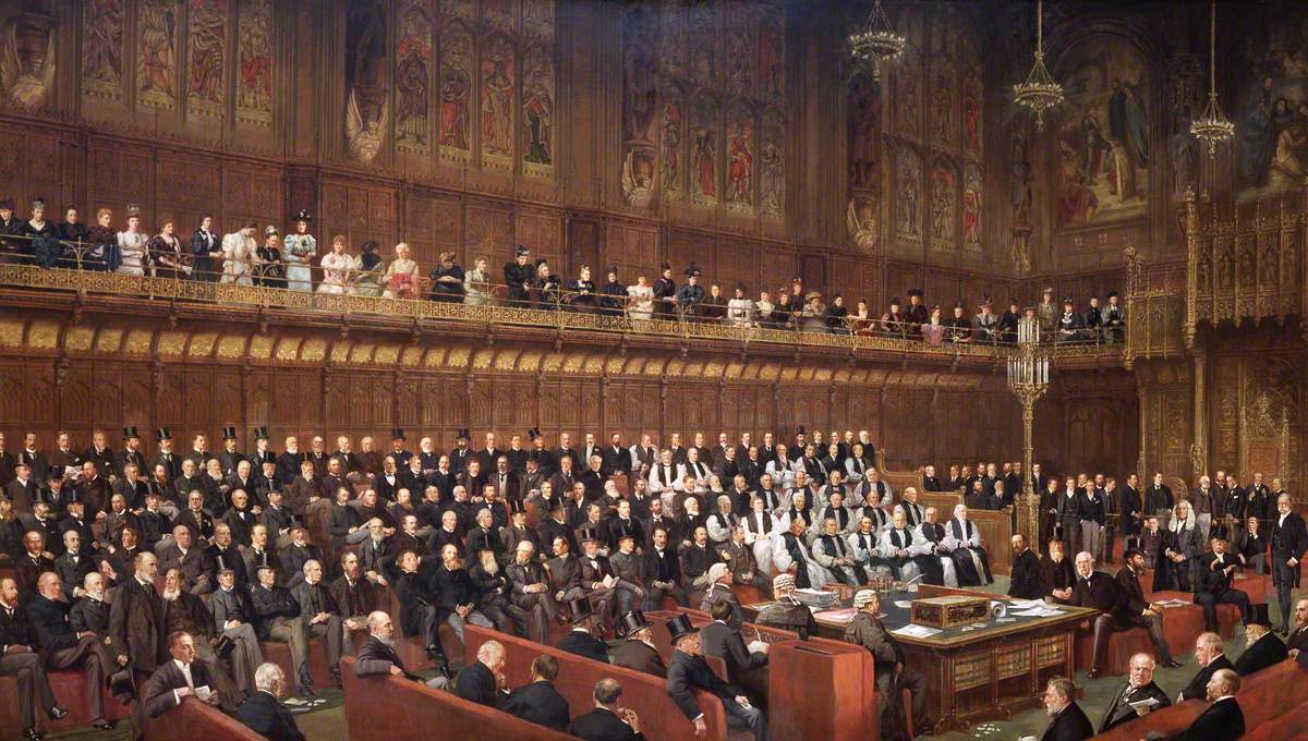 The Home Rule Debate in House of Lords, 1893, Lord Chancellor about to Put the Question