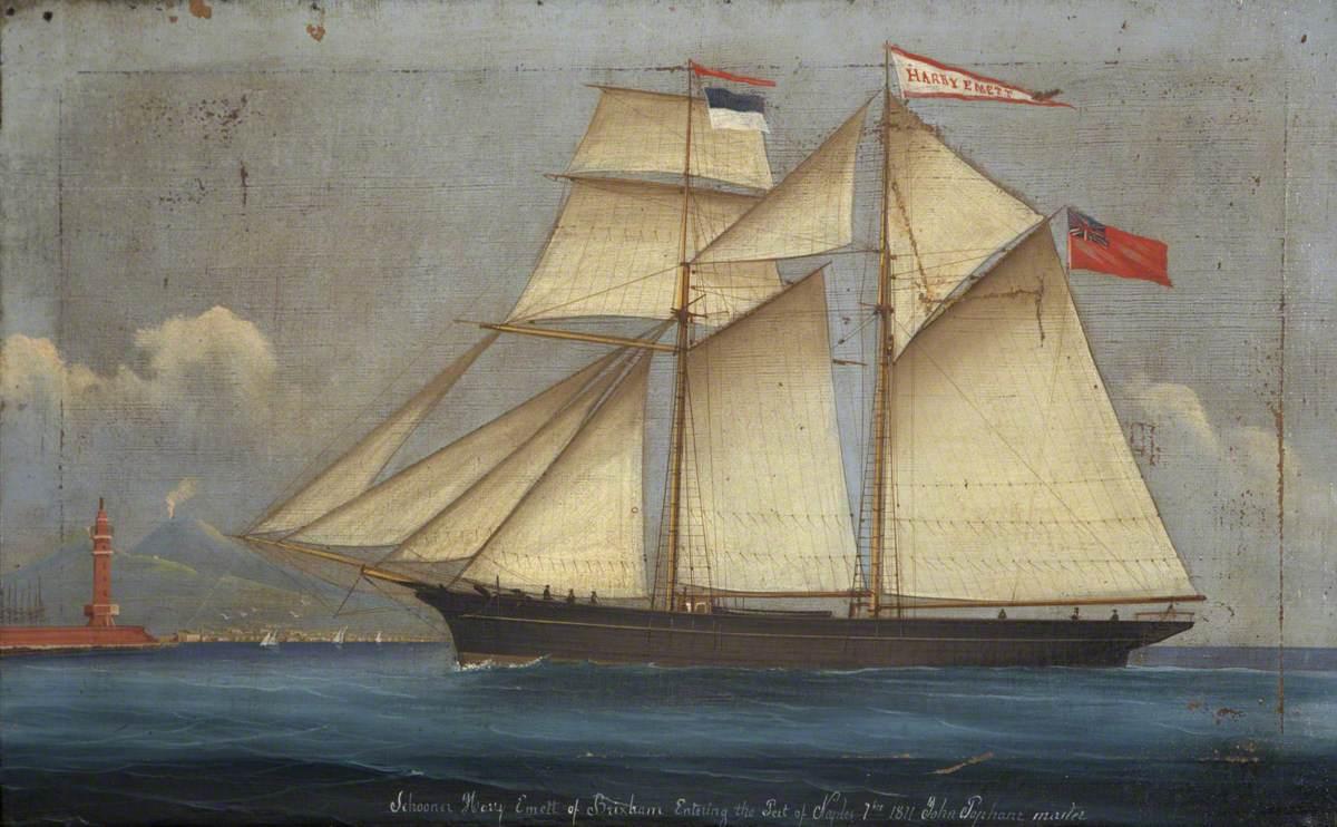 Schooner 'Harry Emett of Brixham' Entering the Port of Naples, 1871 (Master, John Popham)
