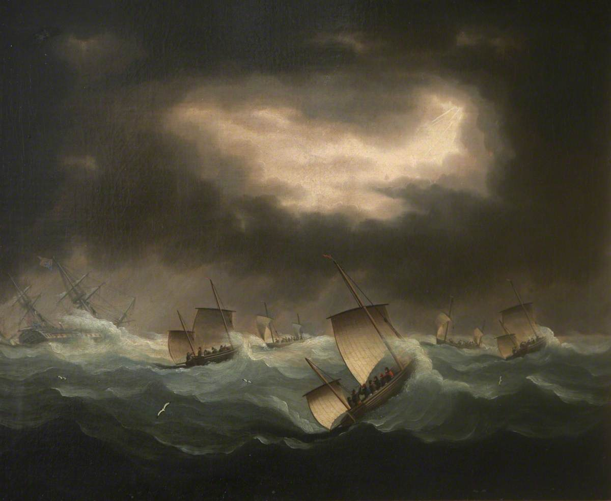 Loss of the West Indiaman 'Belim' (Captain Craig) on the Goodwin Sands, November 1804