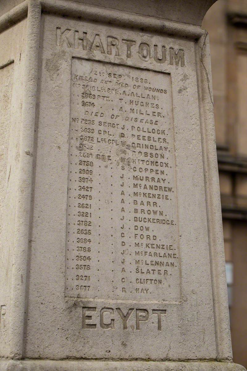 Monument to 79th Queen's own Cameron Highlanders killed in Egypt and The Sudan (1882–1887)